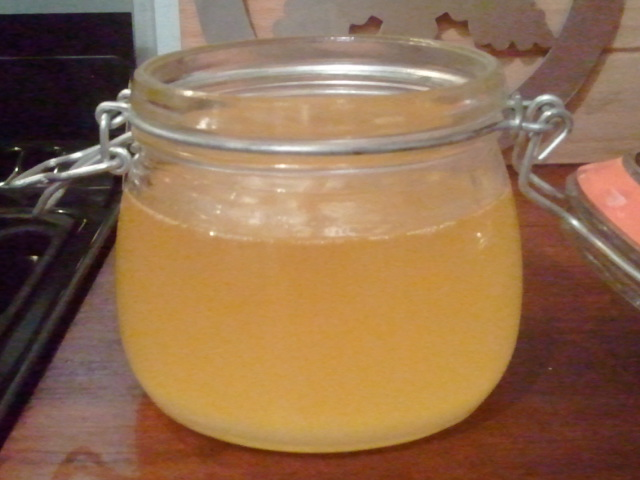 This is the butter oil still hot, when set, it will be a buttery yellow colour, and slightly grainy.